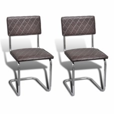 Ensemble de 2 chaises design brun
