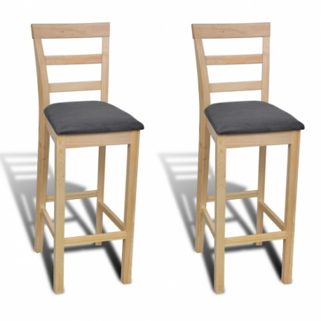 set de 2 tabourets en bois vernis naturel pour chaises tabourets a. Black Bedroom Furniture Sets. Home Design Ideas