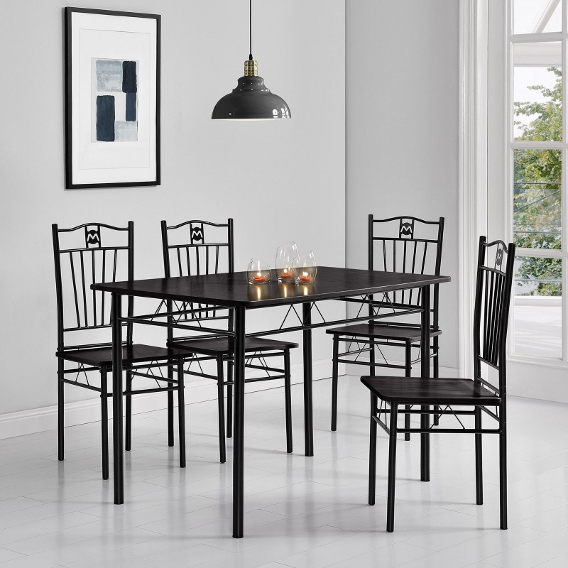 table 110cm en mdf noire avec 4 chaises pour tables a 285 00. Black Bedroom Furniture Sets. Home Design Ideas