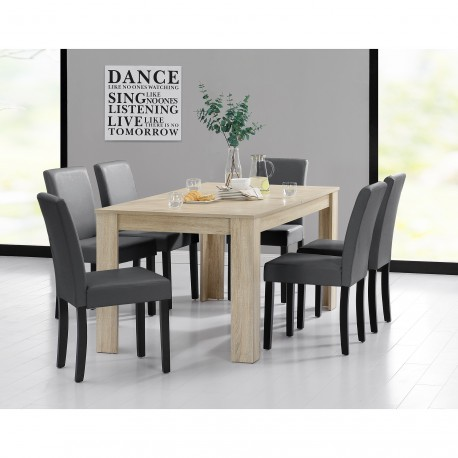 table 160 cm en bois avec 6 chaises pour tables a 492 09. Black Bedroom Furniture Sets. Home Design Ideas