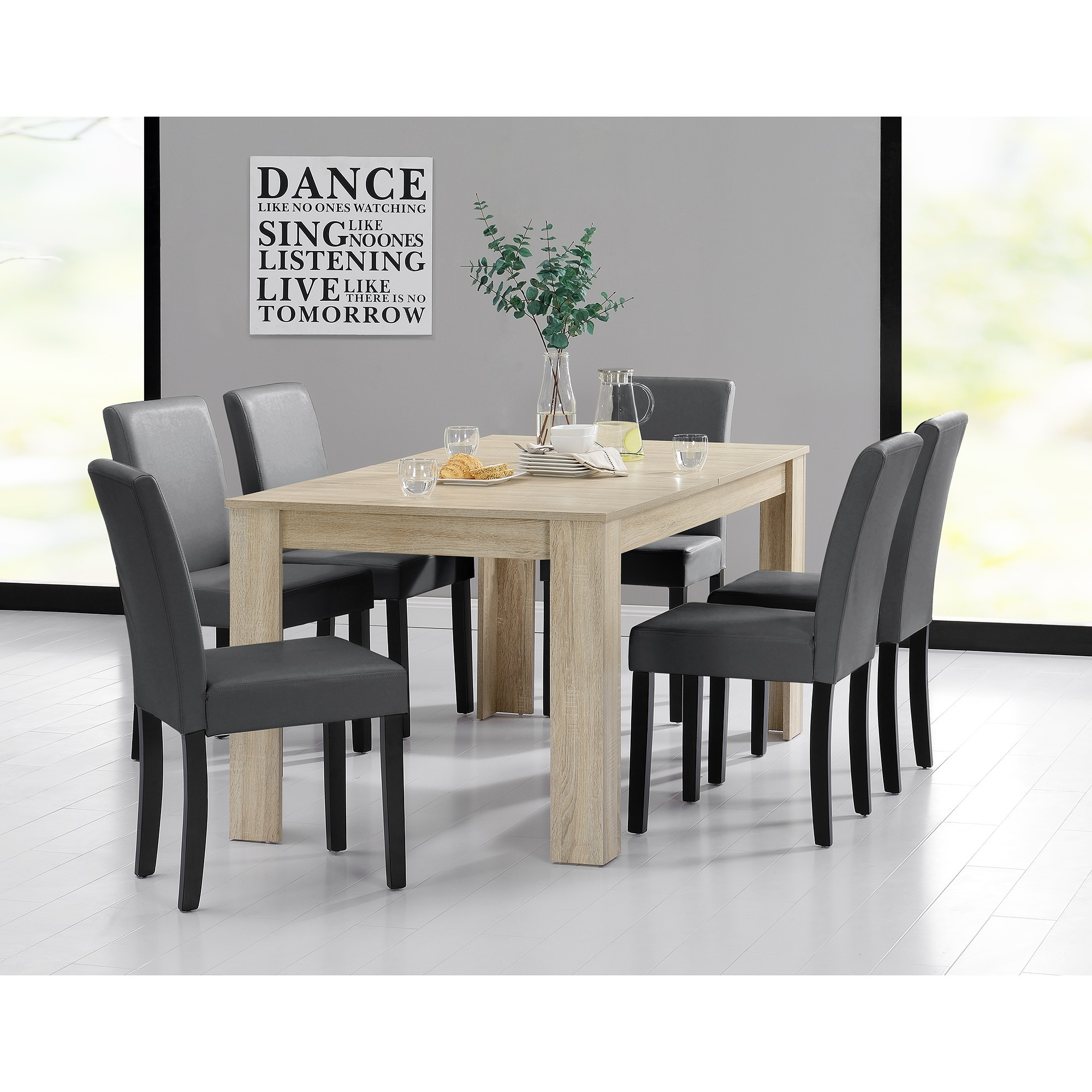 table 160 cm en bois avec 6 chaises pas cher meubles pas. Black Bedroom Furniture Sets. Home Design Ideas