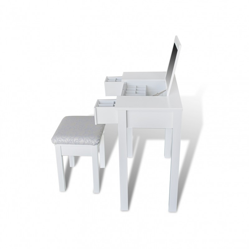 coiffeuse en pin blanc avec tabouret pour commodes armoires a 235. Black Bedroom Furniture Sets. Home Design Ideas