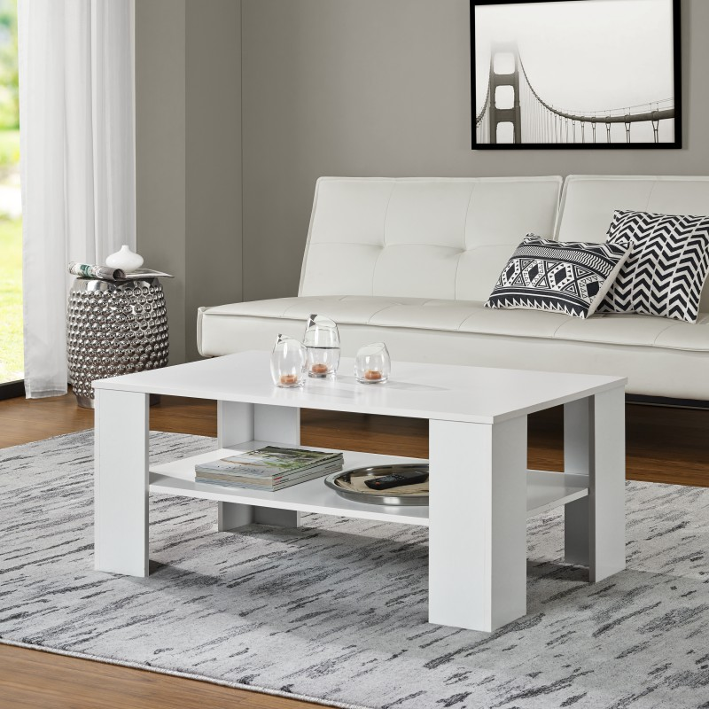 Table basse 100 x 60 cm en mdf blanc pas cher meubles for Salotto bianco