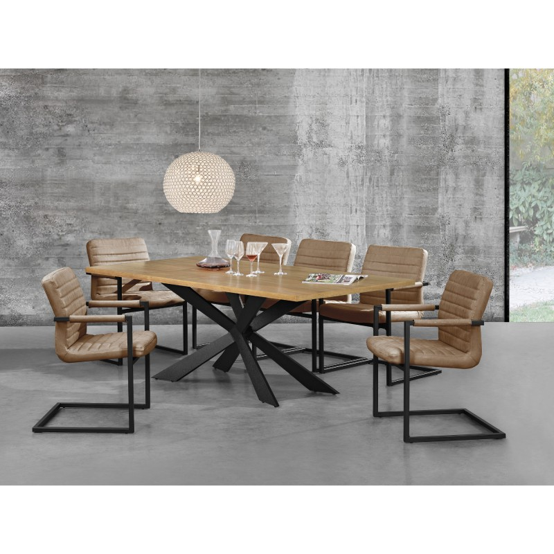 table moderne 200 x 100 cm en fer et bois pour tables a 508 23. Black Bedroom Furniture Sets. Home Design Ideas