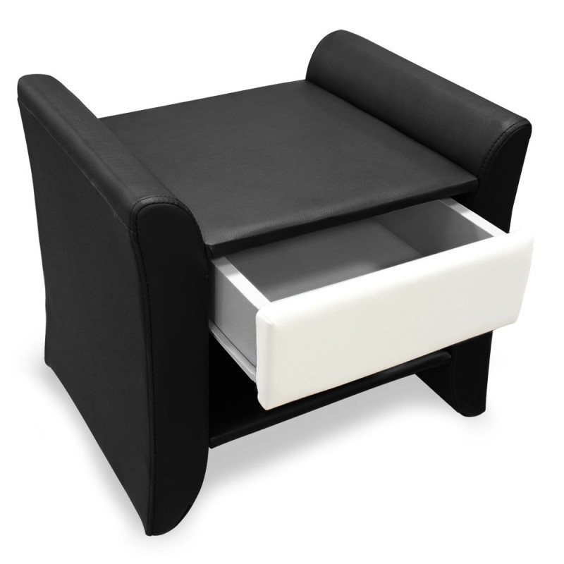 Table de chevet en simili cuir noir pour commodes for Table de chevet noire