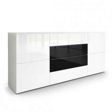Buffet Moderne Blanc Et Noir Avec Facades Laquees Et Structure Mat