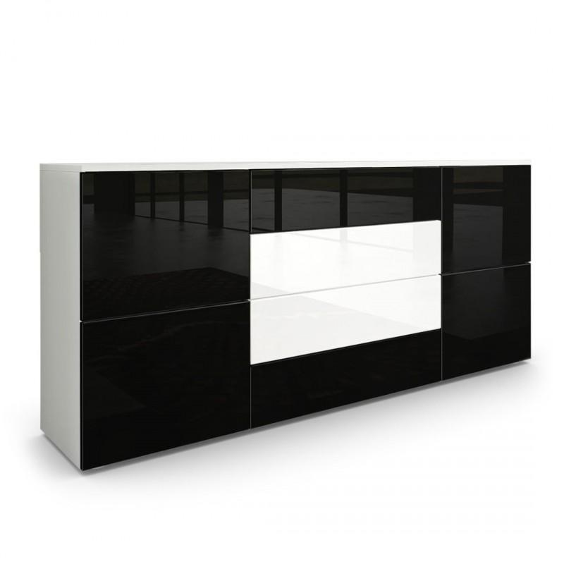 buffet moderne noir et blanc avec fa ades laqu es et structure mat. Black Bedroom Furniture Sets. Home Design Ideas
