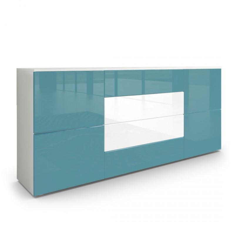 Buffet moderne turquoise et blanc avec fa ades laqu es et for Sideboard petrol