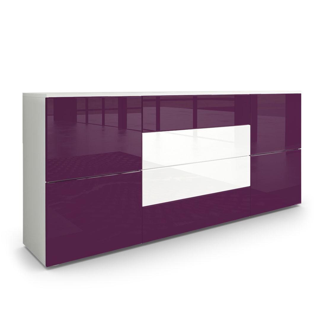 buffet moderne prune et blanc avec fa ades laqu es et structure mat. Black Bedroom Furniture Sets. Home Design Ideas
