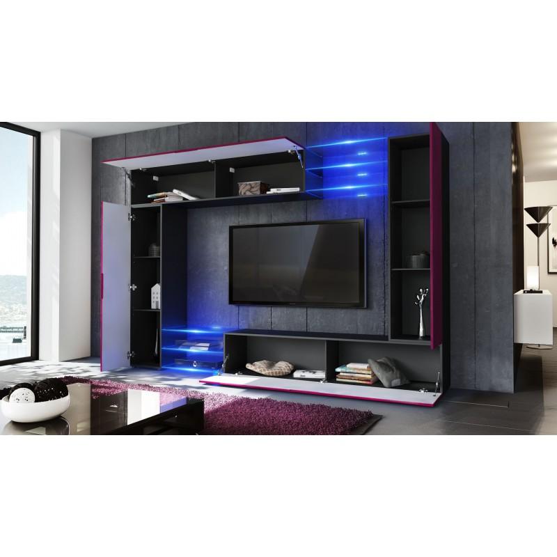 Combinaison murale noire corps mat et fa ades laqu es pour meubles - Combinaison murale design ...