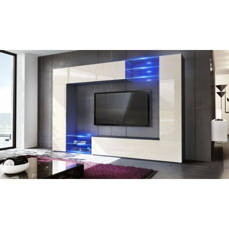 combinaison murale noir et cr me corps mat et fa ades. Black Bedroom Furniture Sets. Home Design Ideas
