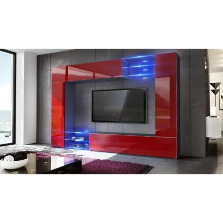 combinaison murale noir et bordeaux corps mat et fa ades. Black Bedroom Furniture Sets. Home Design Ideas