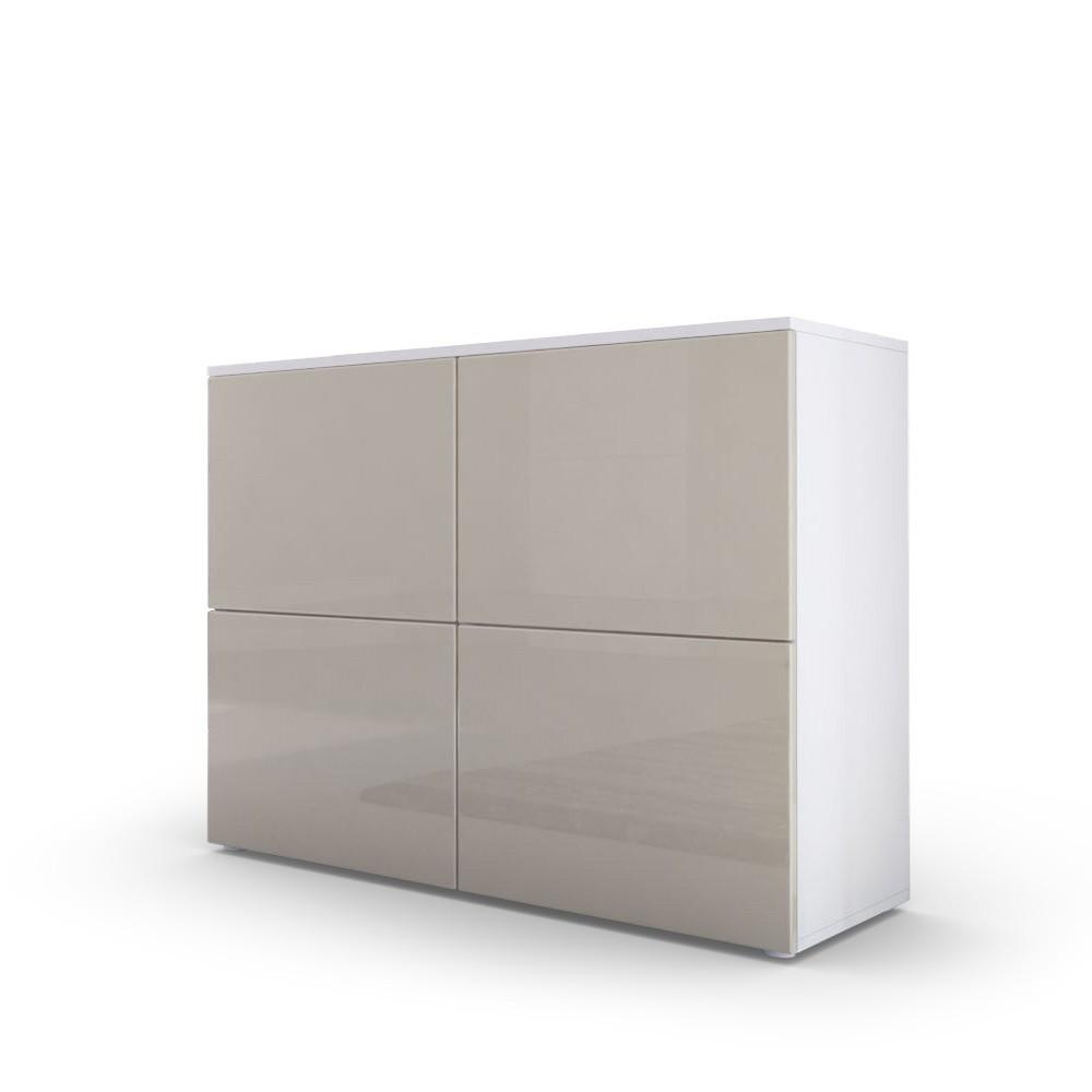 commode moderne blanche et grise sabl e fa ades laqu es et corps ma. Black Bedroom Furniture Sets. Home Design Ideas