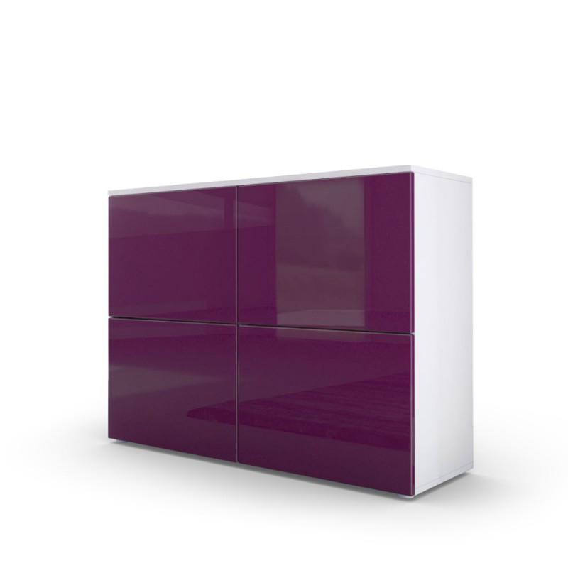 commode moderne blanche et prune fa ades laqu es et corps mat pour. Black Bedroom Furniture Sets. Home Design Ideas