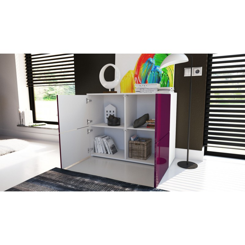 Commode Moderne Facades Bicolores Vertes Claires Et Blanches Laquee