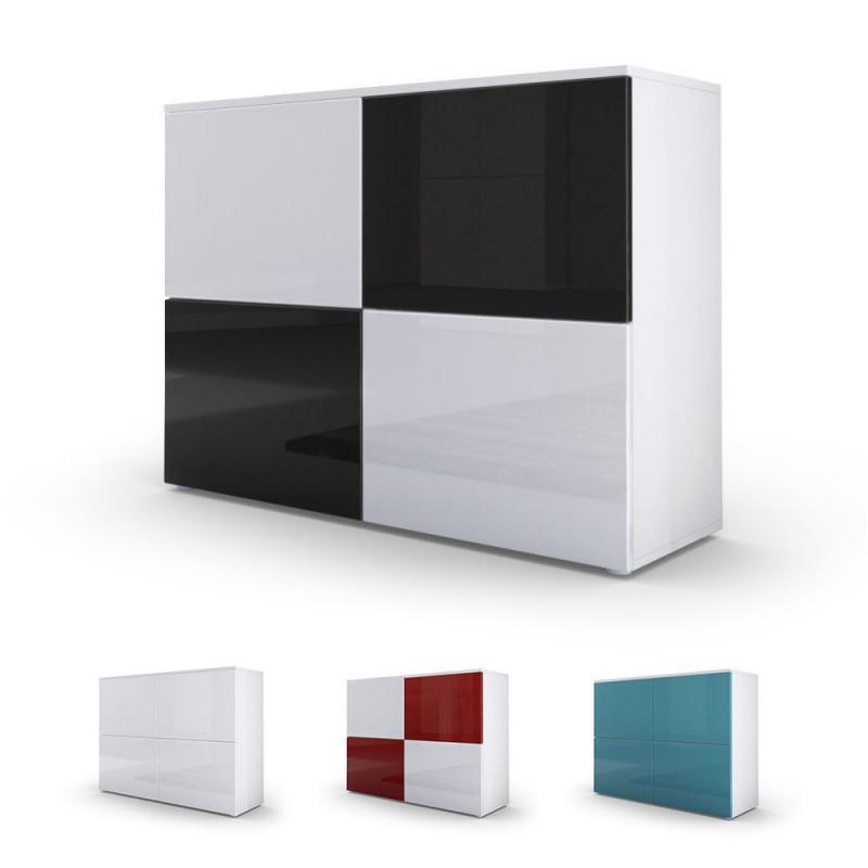 commode moderne blanche et turquoise fa ades laqu es et corps mat p. Black Bedroom Furniture Sets. Home Design Ideas