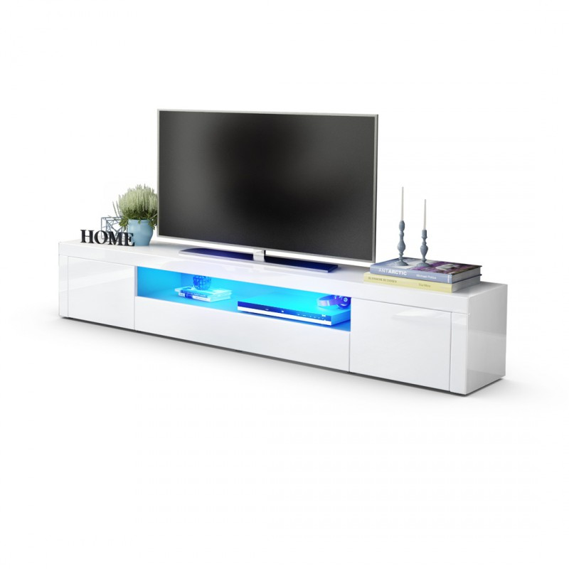 meuble tv moderne laqu blanc 200 cm avec led pour meubles tv desi. Black Bedroom Furniture Sets. Home Design Ideas
