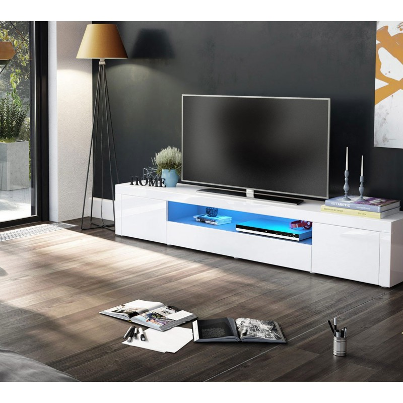 meuble tv moderne laqu blanc 200 cm avec led pour meubles. Black Bedroom Furniture Sets. Home Design Ideas