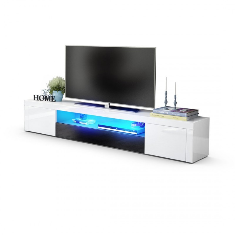meuble tv moderne laqu blanc et noir 200 cm avec led pour. Black Bedroom Furniture Sets. Home Design Ideas