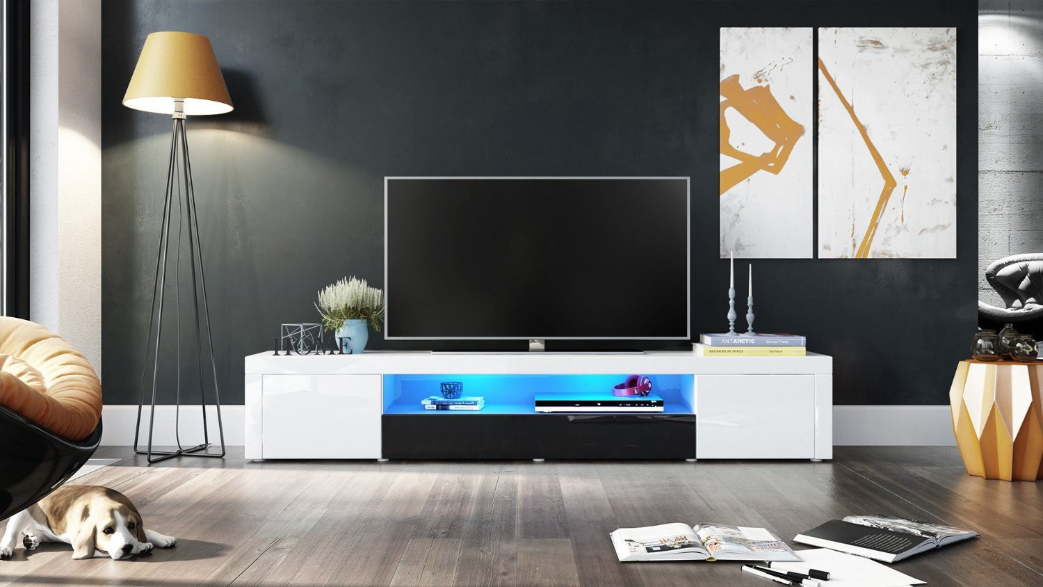 meuble tv moderne laqu blanc et noir 200 cm avec led pour meubles. Black Bedroom Furniture Sets. Home Design Ideas