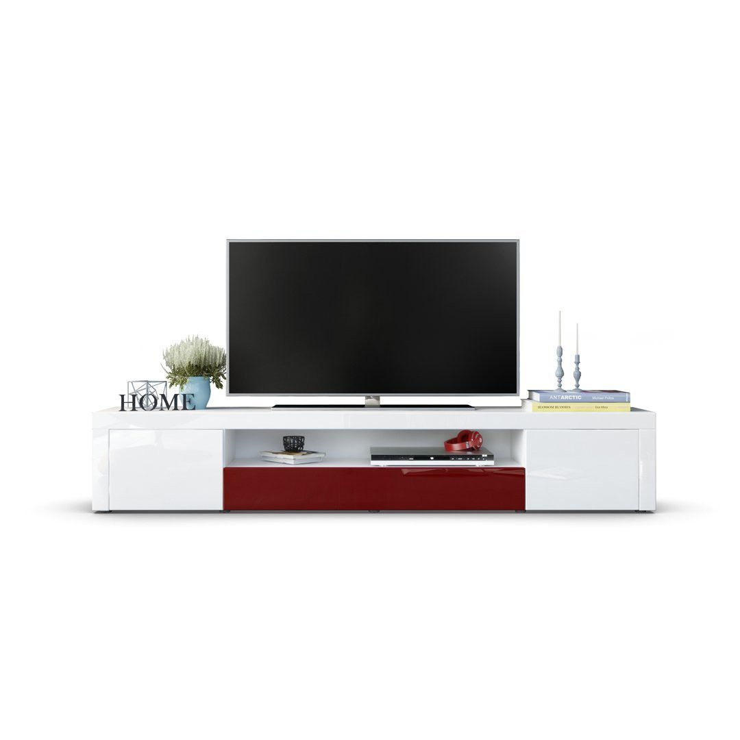 meuble tv moderne laqu blanc et bordeaux 200 cm avec led pour meu. Black Bedroom Furniture Sets. Home Design Ideas