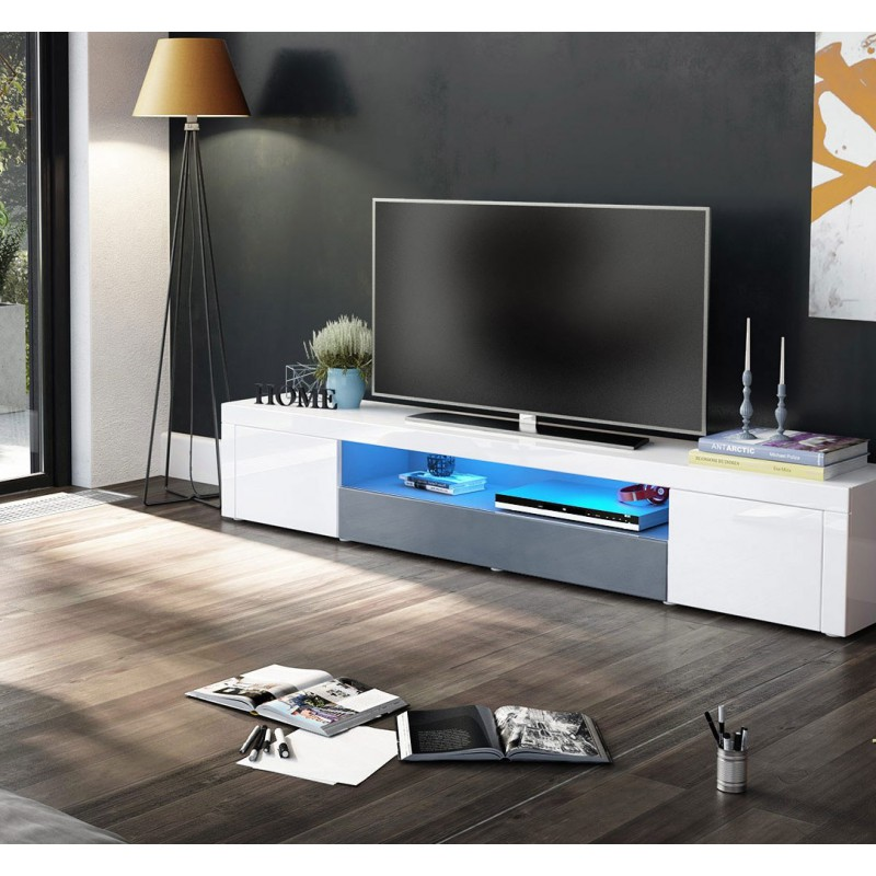 meuble tv moderne laqu blanc et gris 200 cm avec led pour meubles. Black Bedroom Furniture Sets. Home Design Ideas
