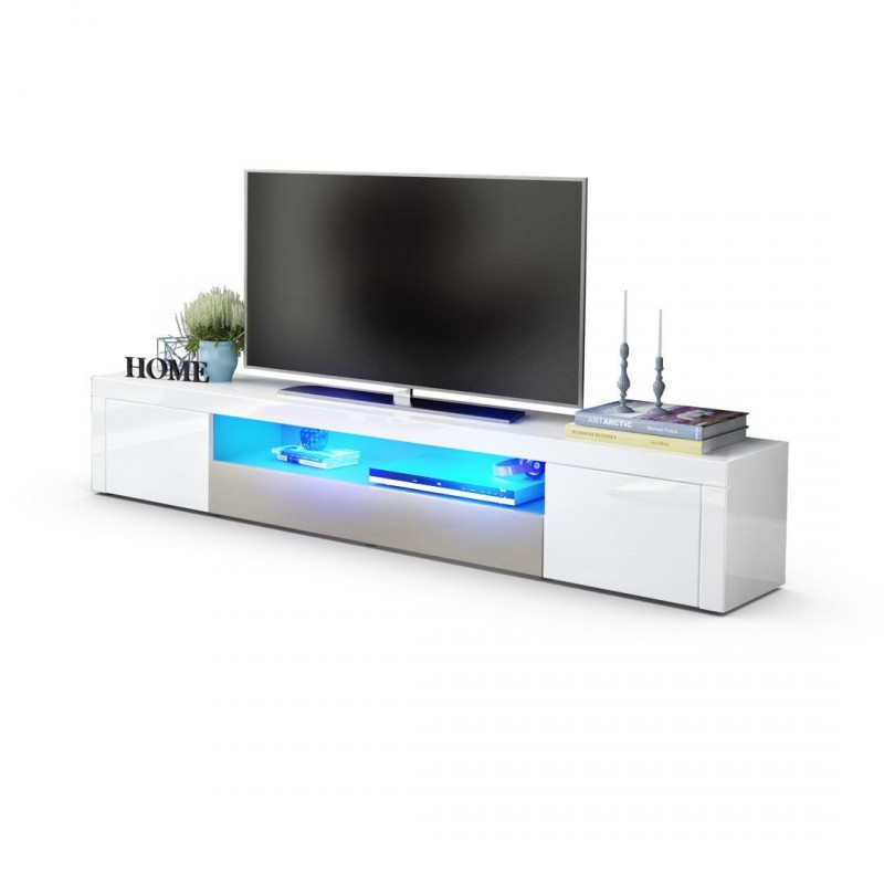 meuble tv moderne laqu blanc et gris sabl 200 cm avec. Black Bedroom Furniture Sets. Home Design Ideas