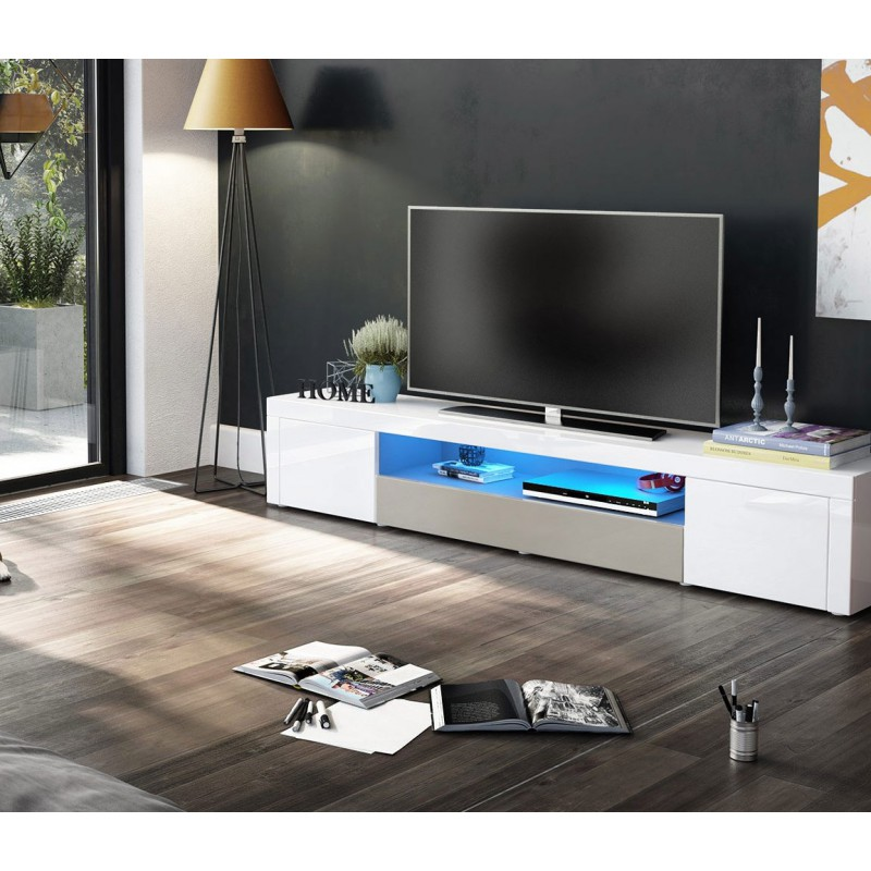meuble tv moderne laqu blanc et gris sabl 200 cm avec led pour m. Black Bedroom Furniture Sets. Home Design Ideas