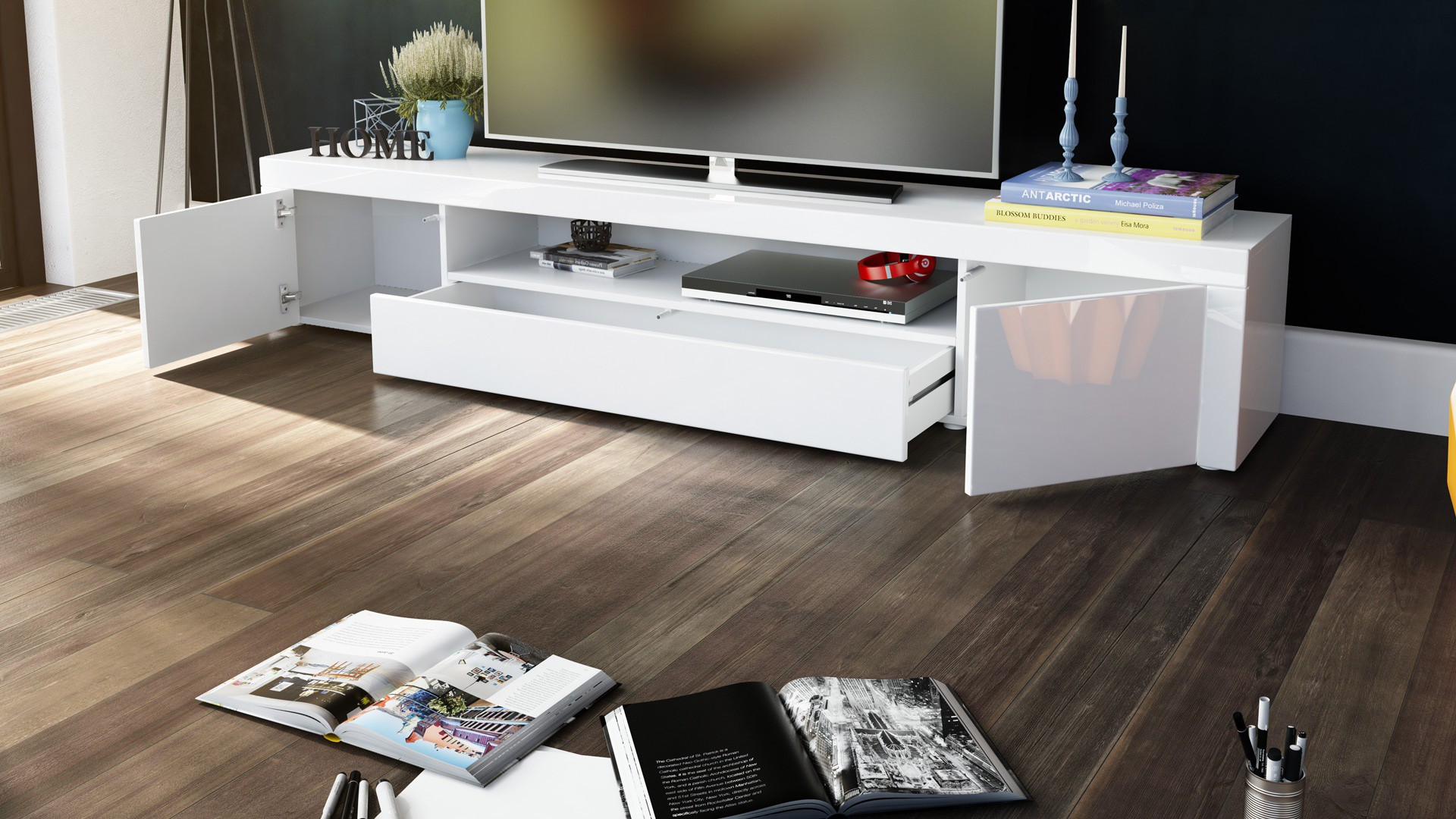 meuble tv moderne laqu blanc et turquoise 200 cm avec led pour me. Black Bedroom Furniture Sets. Home Design Ideas