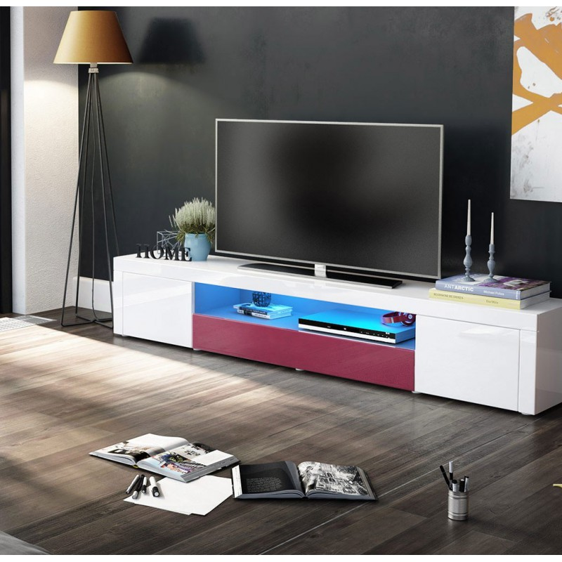 meuble tv moderne laqu blanc et fuchsia 200 cm avec led. Black Bedroom Furniture Sets. Home Design Ideas