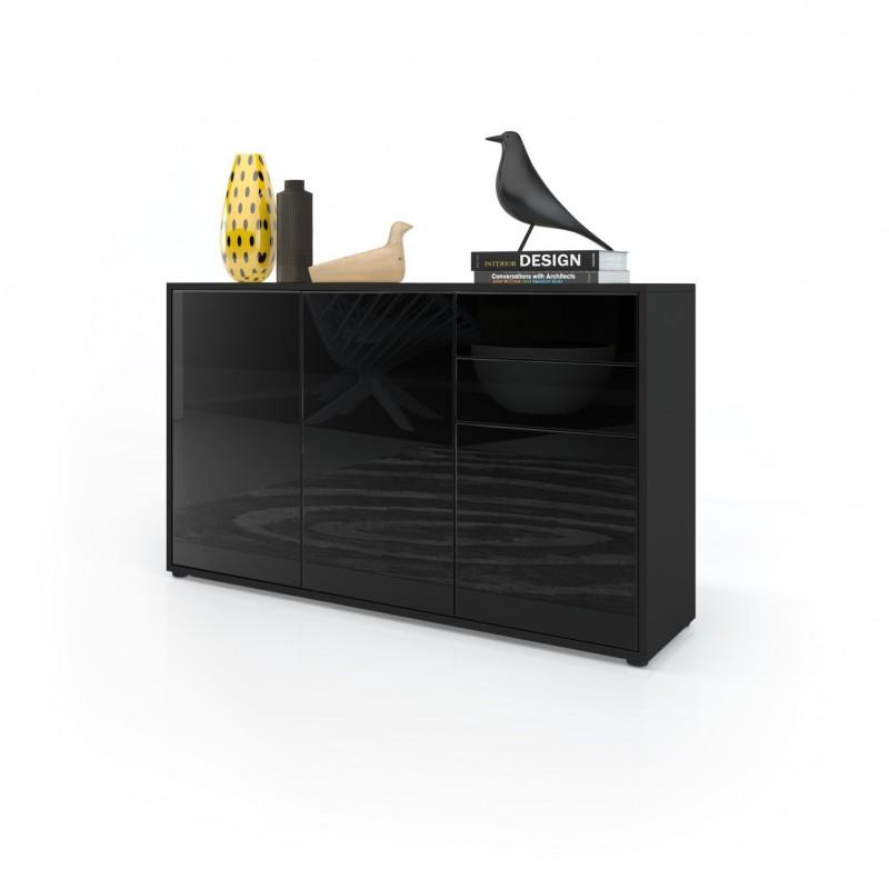 commode moderne int gralement laqu e noir pour commodes armoires. Black Bedroom Furniture Sets. Home Design Ideas