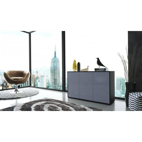 commode moderne intégralement laquée corps noir façade grise pour C...