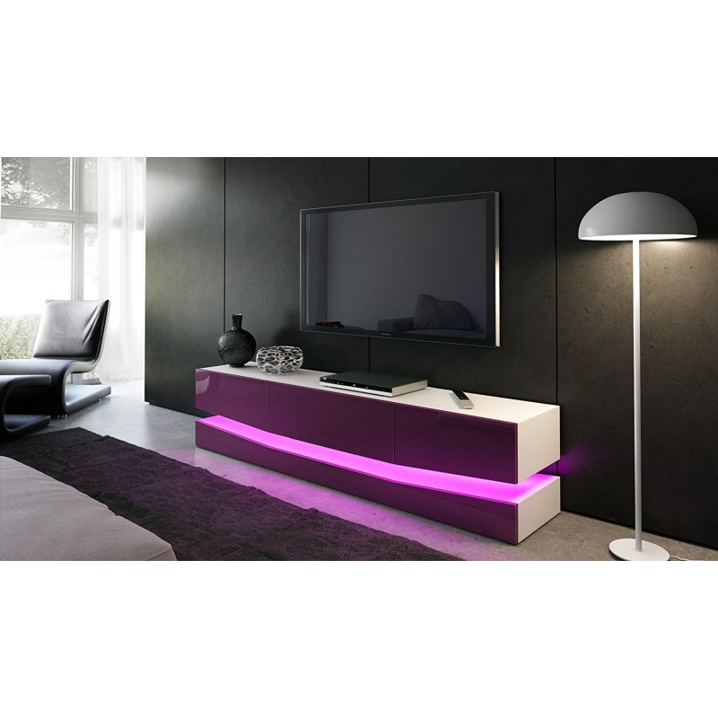 meuble tv corps blanc et fa ades en m re haute brillance et led pou. Black Bedroom Furniture Sets. Home Design Ideas