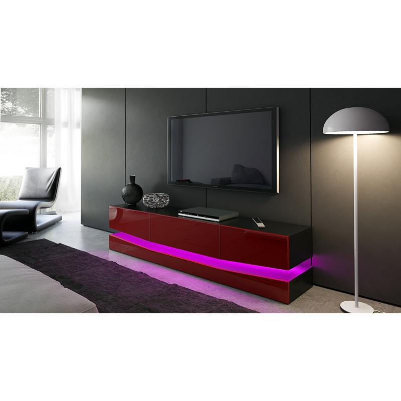 meuble tv corps noir et fa ades en bordeaux haute brillance et led. Black Bedroom Furniture Sets. Home Design Ideas