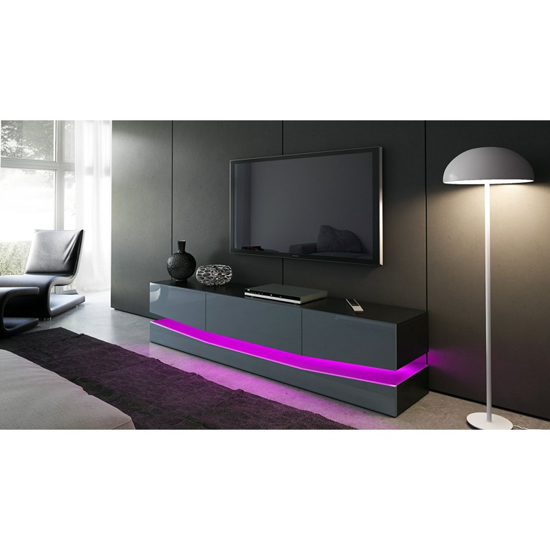 meuble tv corps noir et fa ades en gris haute brillance et led pour. Black Bedroom Furniture Sets. Home Design Ideas