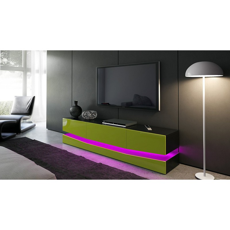 meuble tv corps noir et fa ades en vert clair haute brillance et le. Black Bedroom Furniture Sets. Home Design Ideas