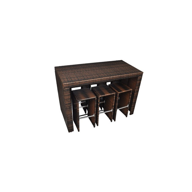 bar de jardin en rotin table haute avec 6 tabourets pour salons en. Black Bedroom Furniture Sets. Home Design Ideas