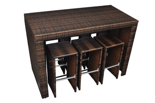 bar de jardin en rotin table haute avec 6 tabourets pour. Black Bedroom Furniture Sets. Home Design Ideas
