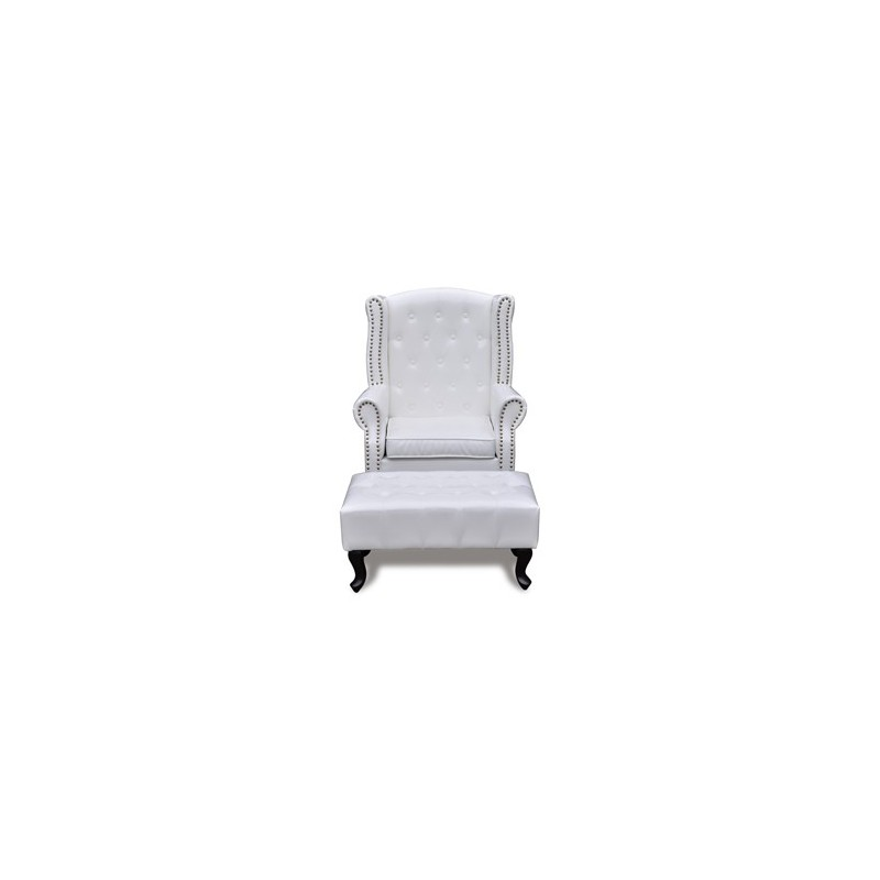 fauteuil chesterfield capitonn avec ottoman assorti blanc pour can. Black Bedroom Furniture Sets. Home Design Ideas