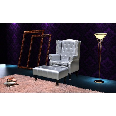 fauteuil chesterfield capitonn avec ottoman assorti. Black Bedroom Furniture Sets. Home Design Ideas