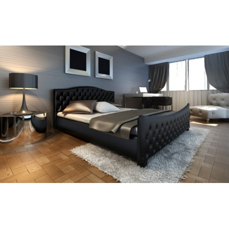 lit en simili cuir noir capitonn 180 200 cm pour lits a 416 25. Black Bedroom Furniture Sets. Home Design Ideas