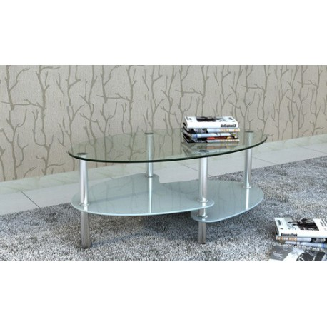 Table De Salon Table Basse Ovale Blanche En Verre Pour
