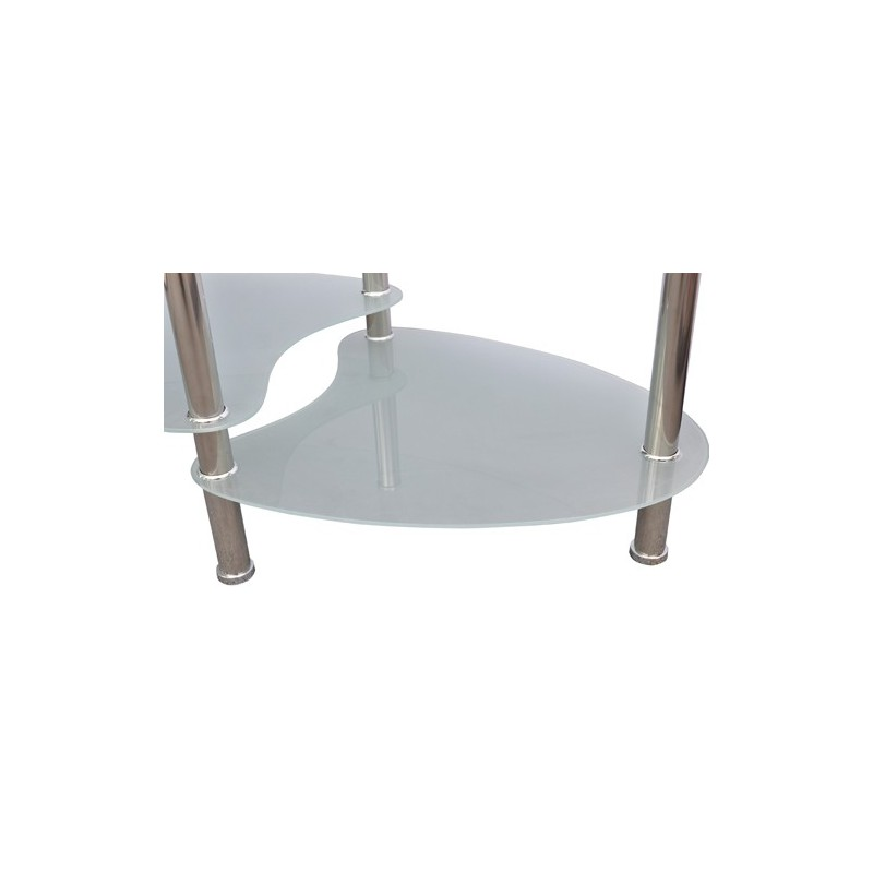 Table basse de salon ovale en verre - Table basse ovale blanche ...