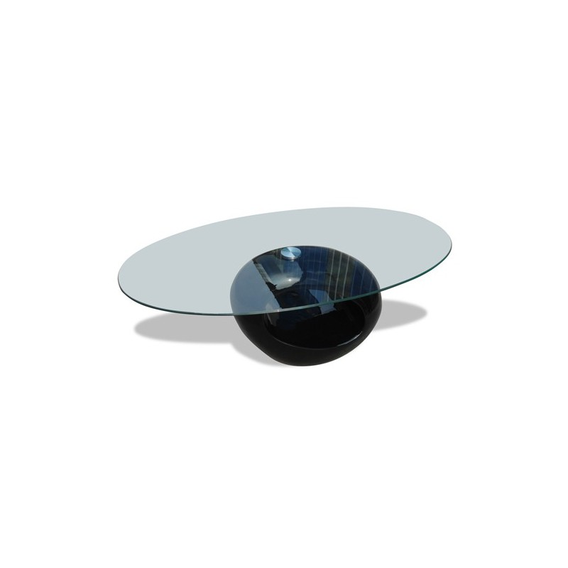 Table basse ovale en verre noir - Tables basses en verre ...