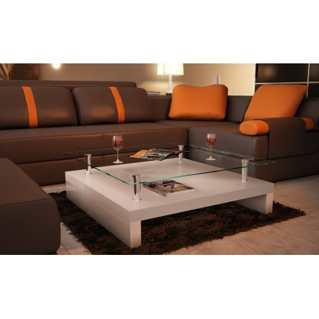 Table basse de salon carr e plateau en verre structure blanc - Table basse carree en verre ...