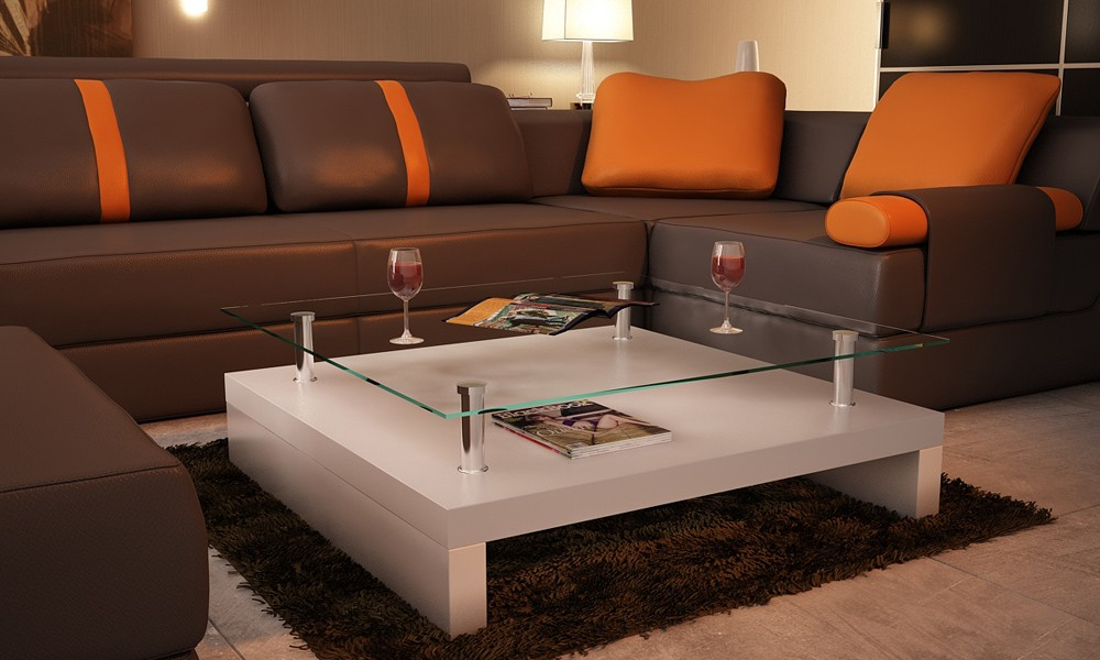 Table basse de salon carr e plateau en verre structure - Table basse moderne design ...