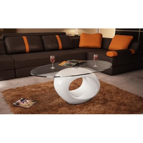 Table basse blanche laqu e ovale design en verre pour - Table de salon ovale ...
