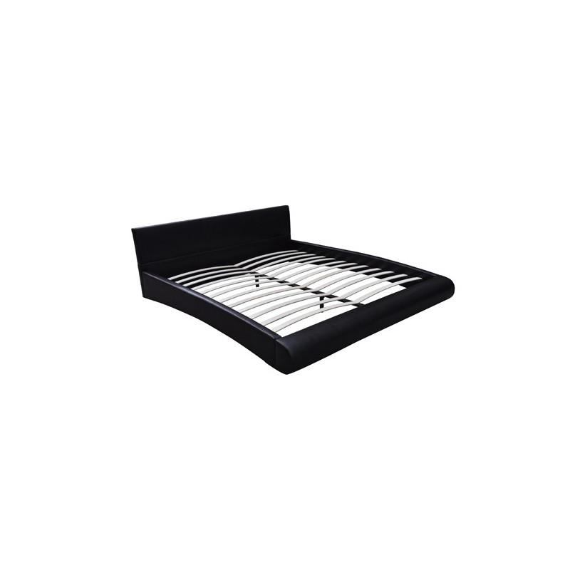 lit double 180x200 cm cro te de cuir noir avec sommier et matelas. Black Bedroom Furniture Sets. Home Design Ideas