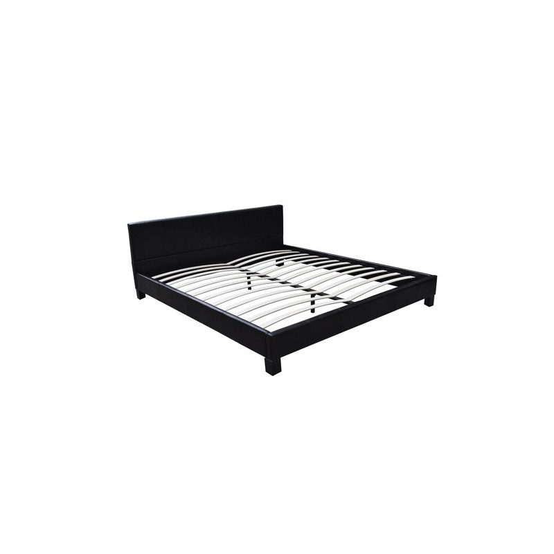 lit double 180x200 cm simili cuir noir sommier et matelas pour lits. Black Bedroom Furniture Sets. Home Design Ideas