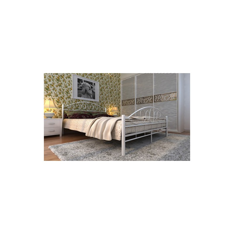 lit en m tal design arrondi avec matelas 180 x 200 cm couleur cr me. Black Bedroom Furniture Sets. Home Design Ideas